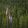 Flags at Yoho National Park Visitors Centre, Alberta, Canada